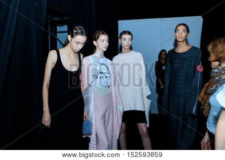MOSCOW RUSSIA - OCTOBER 17 2016: Backstage of KSENIASERAYA catwalk at Spring-summer 2017 Mercedes-Benz Fashion Week Russia.