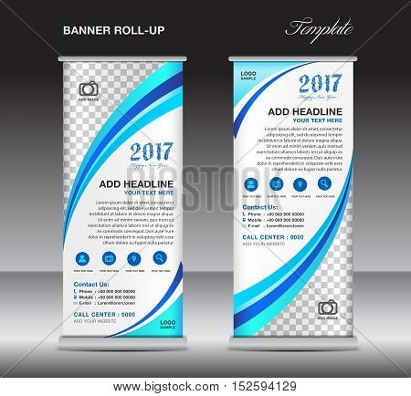 Blue roll up banner template, banner design, stand template, display template, pull up, advertisement, flyer design