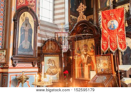 Vilnius, Lithuania - July 04, 2016: Close The Left Side Of Iconostasis In Christian Orthodox Church Of Saint Nicholas.
