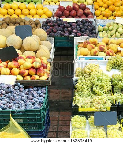 Large organic fruits piles sold on market stall