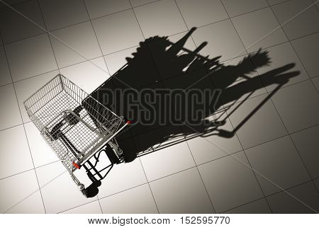 Empty Shopping Cart Cast Shadow On The Floor As Shopping Cart Full Of Food. 3D Illustration.