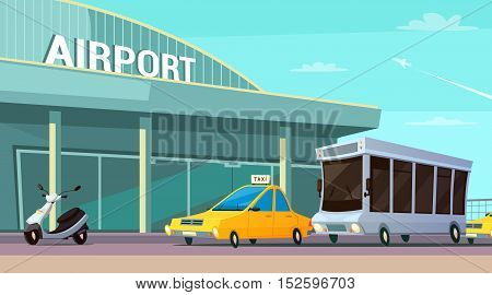 City transport cartoon composition with airport terminal taxi car scooter and passenger bus at plane taking off background flat vector illustration