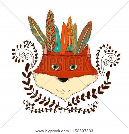 A stylized illustration of an Indian fox with feathers. Boho and folk style image illustration for animalistic theme children goods printed production.