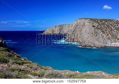 Sea view from the mountains in Cala Domestica a famous beach in Sardinia Italy.