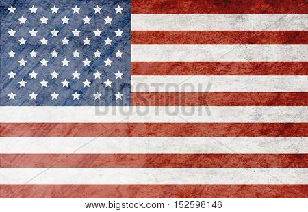 Grunge Dirty National Flag Of United States Of America. American Flags.