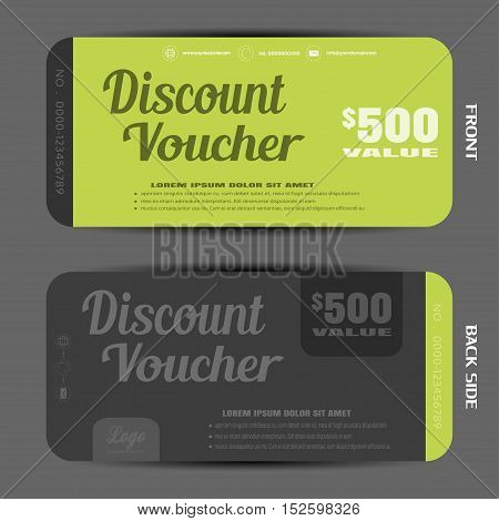 Blank of stylish discount voucher vector illustration to increase sales on green and graphite background.