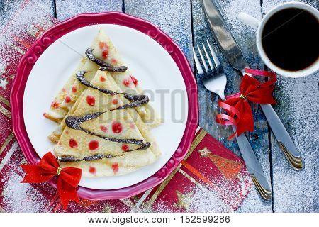 Pancake Christmas tree cute Christmas food idea