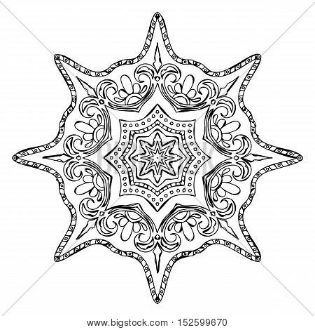 Monochrome Contour Mandala for Coloring Book. Anti-stress Therapy Pattern.