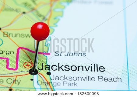 Jacksonville pinned on a map of Florida, USA