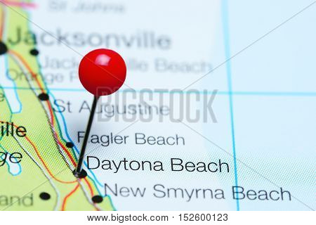 Daytona Beach pinned on a map of Florida, USA