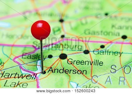 Anderson pinned on a map of South Carolina, USA