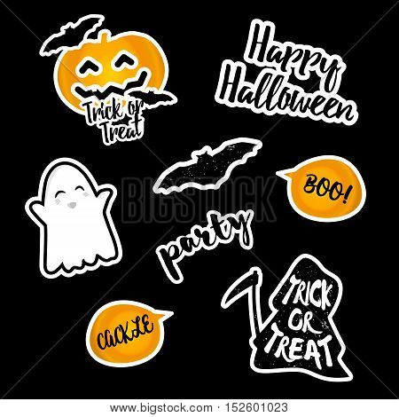 Set of stickers Halloween. Vector elements. Pumpkin; bat; reaper; inscription party.