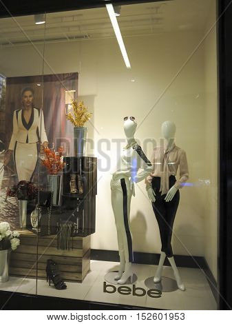 ALBERTA, CANADA - SEPTEMBER 23, 2014: Detail of Bebe store in Alberta Canada.