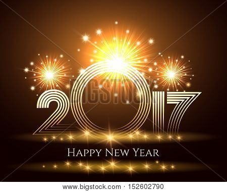 Happy New Year colorful gold 2017 greeting card, poster, banner or invitation. Number of next year against festive fireworks. Vector Illustration.
