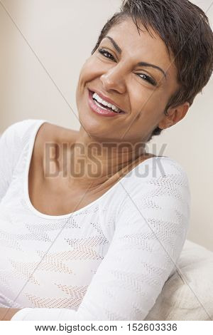 Happy smiling middle aged African American woman couple with perfect teeth