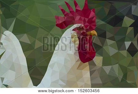 White rooster with a red comb on a green background. Portrait of a  cockerel. Low poly Vector illustration. Cock - a symbol of new 2017 year.
