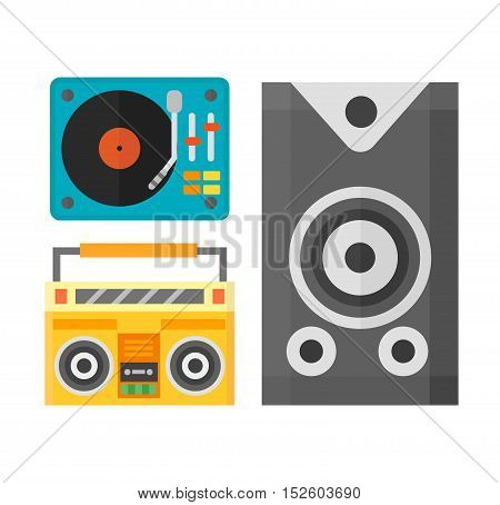 Dj music equipment and music mixer equipment. Technology party turntable volume disc control.