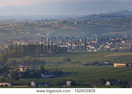 Village Of Saint Etienne Des Oullieres At Sunrise, Beaujolais Land, France