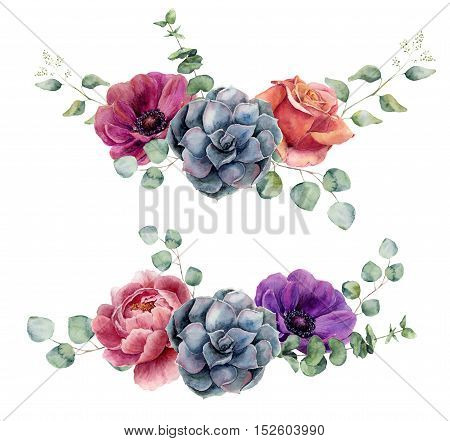 Watercolor floral elements isolated on white background. Vintage style posy set with eucalyptus branches, rose, succulents, peony, anemone flower, leaves. Flower hand painted design.
