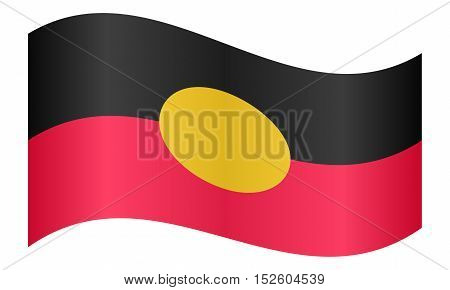 Australian Aboriginal official flag. Commonwealth of Australia patriotic symbol banner element background. Correct colors. Australian Aboriginal flag waving on white background vector illustration