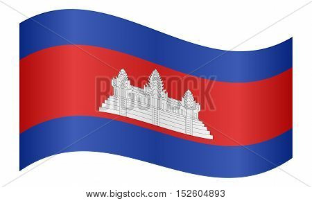 Cambodian national official flag. Patriotic symbol banner element background. Correct colors. Flag of Cambodia waving on white background vector illustration