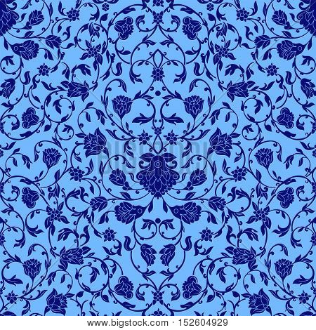 Vector intricate seamless pattern in Eastern style in bluecolor. Ornate elements for design.Inricate ornamental decoration can be used on wedding invitations and greeting cards. Traditional floral decor.