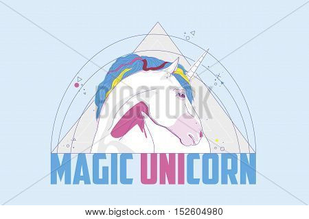 The head of a horse in a triangle with the addition of all the fine lines and words magic unicorn. Vector illustration.
