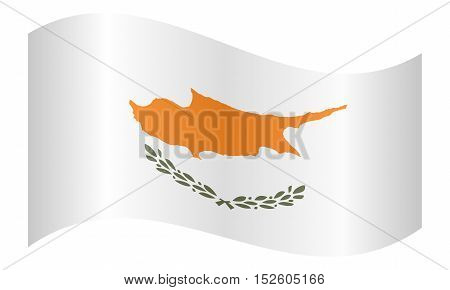 Cypriot national official flag. Patriotic symbol banner element background. Correct colors. Flag of Cyprus waving on white background vector illustration