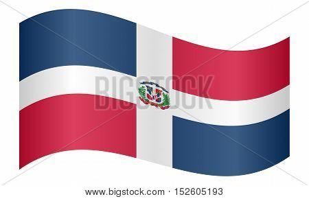 Dominican Republic national official flag. Patriotic symbol banner element background. Correct colors. Flag of Dominican Republic waving on white background vector illustration
