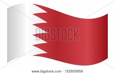 Bahraini national official flag. Patriotic symbol banner element background. Correct colors. Flag of Bahrain waving on white background vector illustration