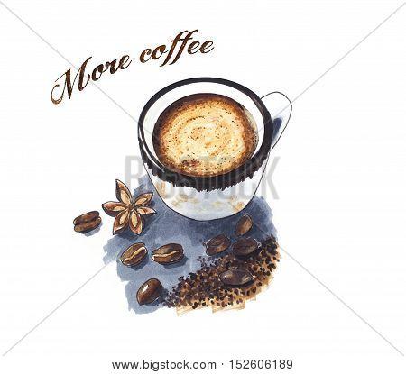 Spice coffee vintage hand drawn sketch on grey background