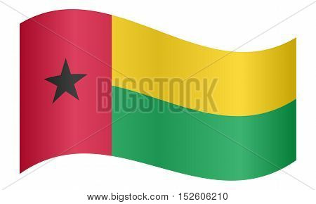 Bissau-Guinean national official flag. Patriotic symbol banner element background. Correct colors. Flag of Guinea-Bissau waving on white background vector illustration