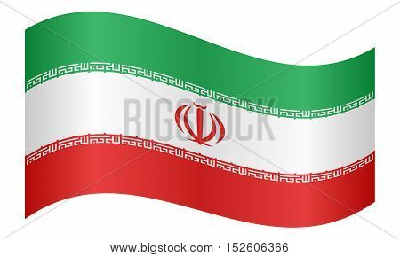 Iranian national official flag. Islamic Republic of Iran patriotic symbol banner element background. Correct colors. Flag of Iran waving on white background vector illustration