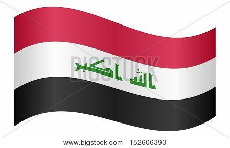 Iraqi national official flag. Irak patriotic symbol element background. Iraki banner. Correct colors. Flag of Iraq waving on white background vector illustration
