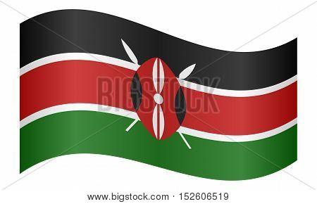 Kenyan national official flag. African patriotic symbol banner element background. Correct colors. Flag of Kenya waving on white background vector illustration