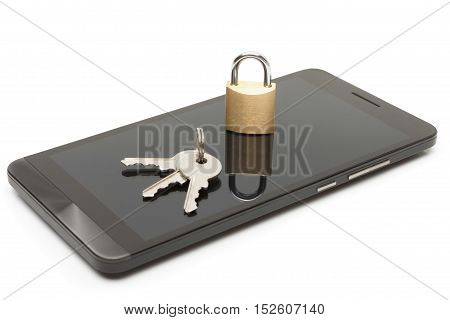 Mobile phone security and data protection concept. Smartphone with lock and keys over it