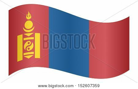 Mongolian national official flag. Patriotic symbol banner element background. Correct colors. Flag of Mongolia waving on white background vector illustration