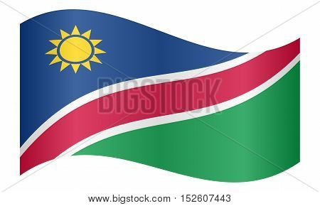 Namibian national official flag. African patriotic symbol banner element background. Correct colors. Flag of Namibia waving on white background vector illustration
