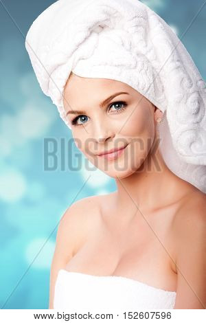 Clean Woman In Towels After Bath Shower