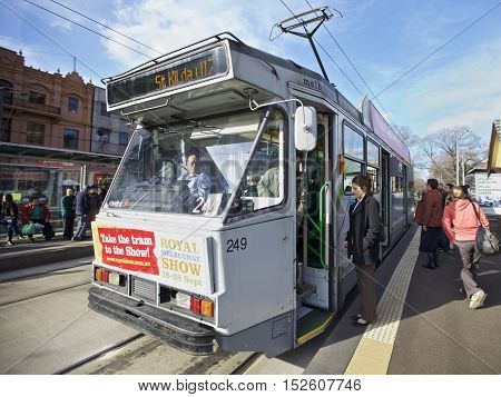MELBOURNE, AUSTRALIA - AUGUST 17 2010: Melbourne tramway network is a major form of public transport in Melbourne St Kilda area in Victoria Australia