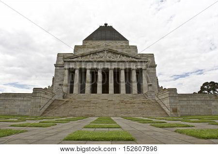 MELBOURNE, AUSTRALIA - DECEMBER 5th 2009: The Shrine of Remembrance in Melbourne Victoria Australia. A historic memorial landmark to Australians who served their country.