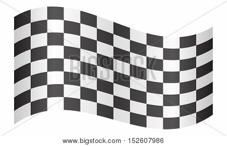 Checkered racing flag. Symbolic design of end of car race. Black and white background. Checkered flag waving on white background vector illustration