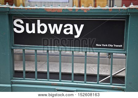 Subway entrance to New York City Transit entrance, NYC, USA Photo taken on: June 06th, 2014