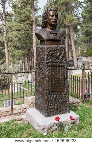 DEADWOOD, SD - SEPTEMBER 22: Gravesite of Wild Bill Hickok located in the Mount Moriah Cemetery in Deadwood South Dakota on September 22, 2016