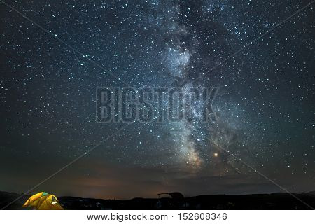 Milky Way above Sage Creek Campground in Badlands National Park South Dakota