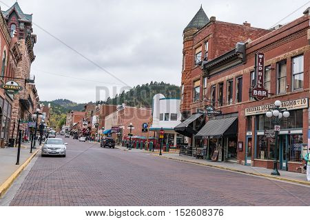 DEADWOOD SD - SEPTEMBER 22, 2016: Historic town of Deadwood South Dakota made famous as the location where Wild Bill Hickok was killed in 1876