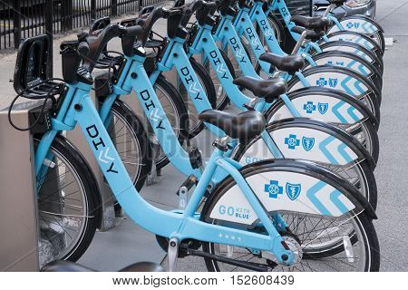 CHICAGO, IL - SEPTEMBER 18, 2016: Divvy Bike Share Station in downtown Chicago Illinois