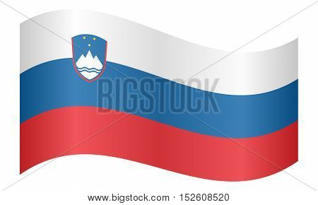 Slovenian national official flag. Patriotic symbol banner element background. Correct colors. Flag of Slovenia waving on white background vector illustration