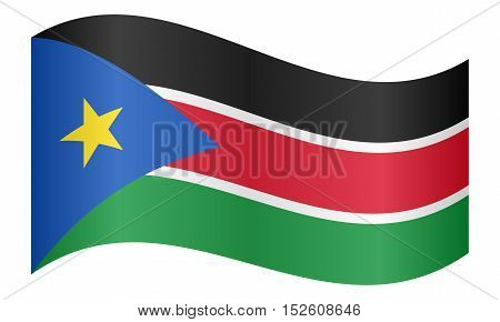South Sudanese national official flag. African patriotic symbol banner element background. Correct colors. Flag of South Sudan waving on white background vector illustration