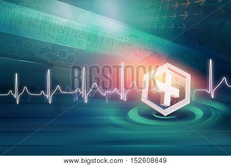 Medical News Background Suitable for Healthcare and Medical News Topic Earth Globe Inside Waves Circles Digital Data's and World Dot map at Background. 3d Render 3d Illustration